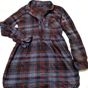 Volcom button up shirt dress plaid flannel